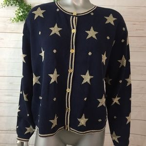 First Issue Navy & Gold Star Button Front Cardigan